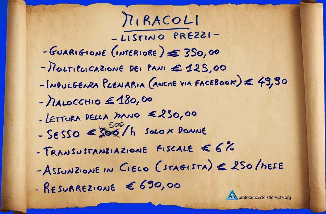Miracoli - Listino Prezzi 2013